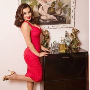 Dresses & Skirts - Red Polka Dot Pinup Dress
